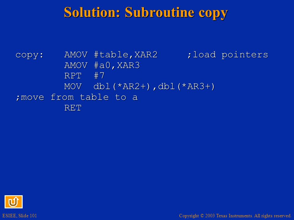Solution: Subroutine copy
