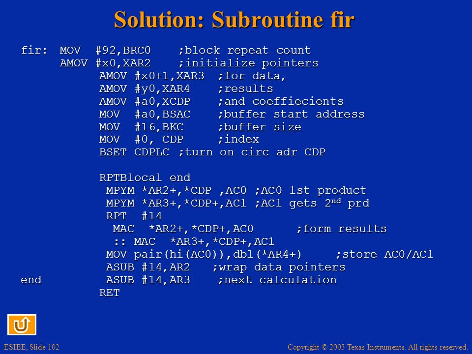 Solution: Subroutine fir