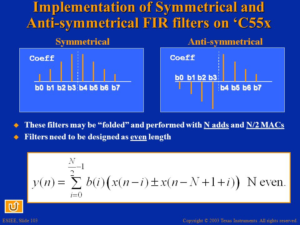 Implementation of Symmetrical and Anti-symmetrical FIR filters on 'C55x