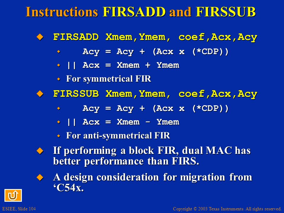 Instructions FIRSADD and FIRSSUB