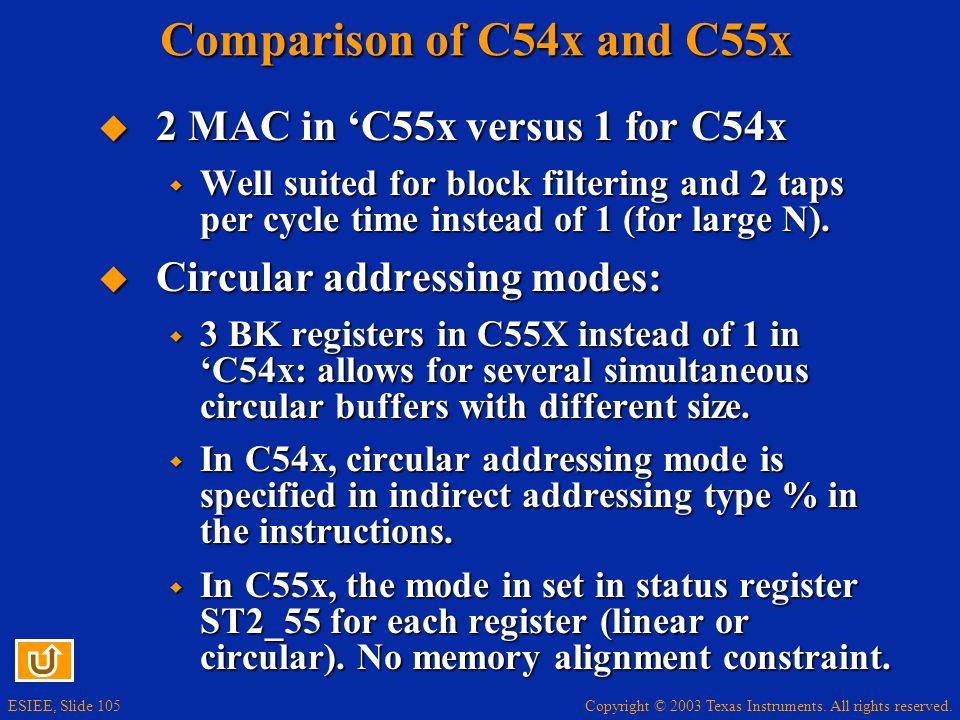 Comparison of C54x and C55x 2 MAC in 'C55x versus 1 for C54x