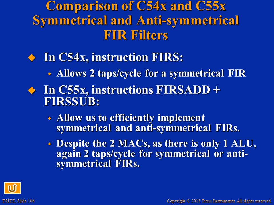 Comparison of C54x and C55x Symmetrical and Anti-symmetrical FIR Filters