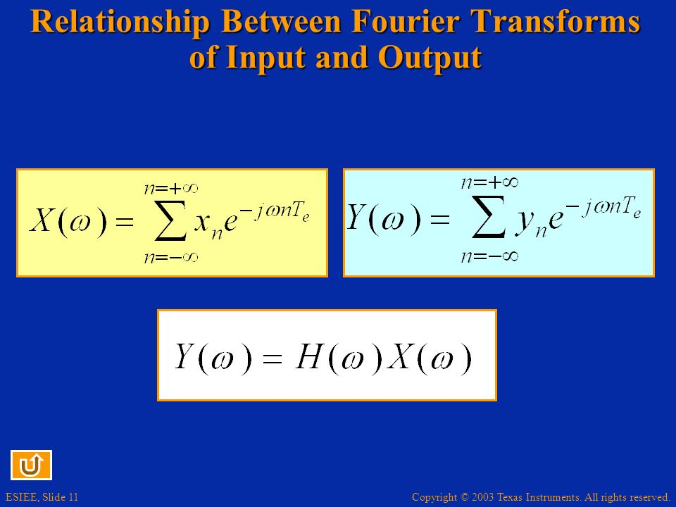 Relationship Between Fourier Transforms of Input and Output