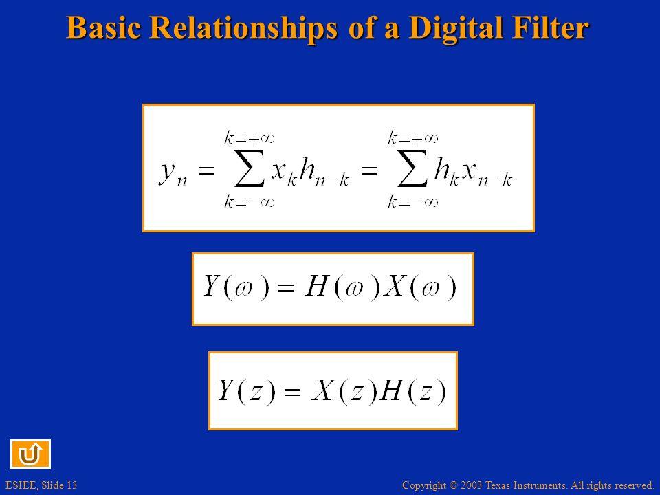 Basic Relationships of a Digital Filter