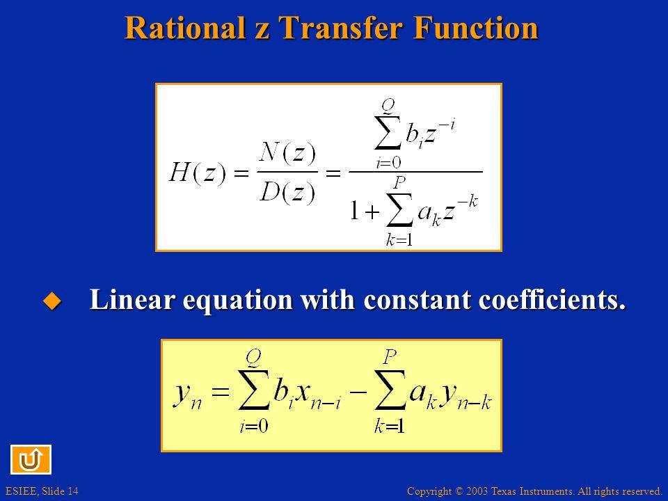 Rational z Transfer Function