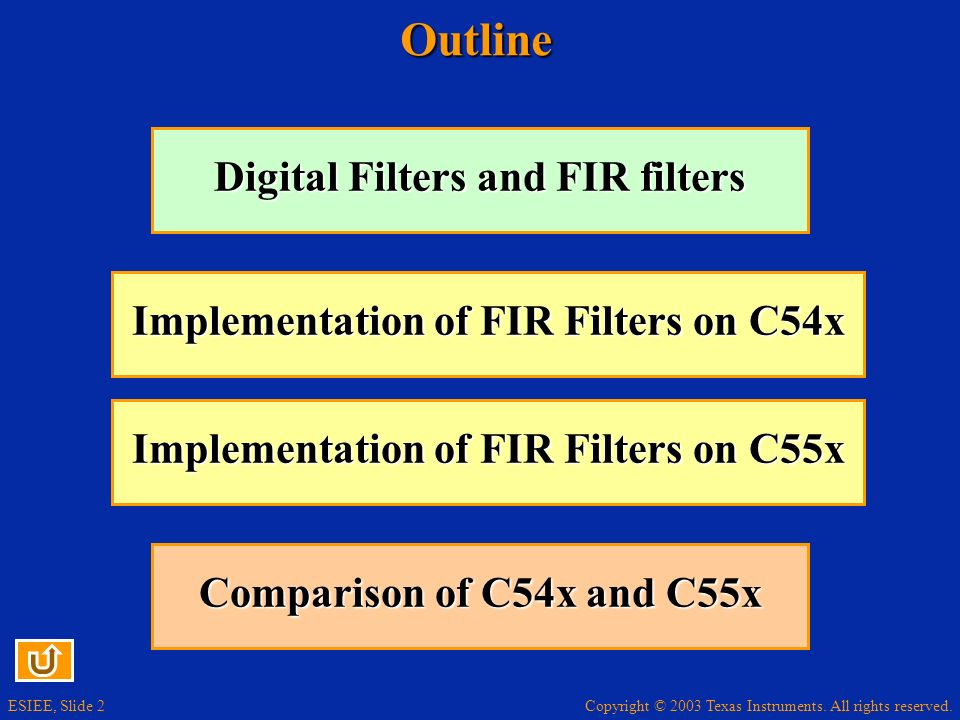 Outline Digital Filters and FIR filters