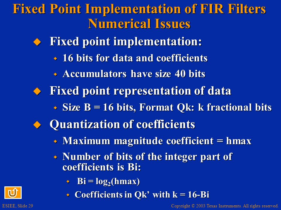 Fixed Point Implementation of FIR Filters Numerical Issues