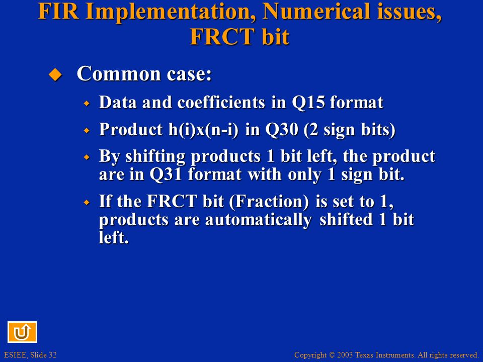 FIR Implementation, Numerical issues, FRCT bit