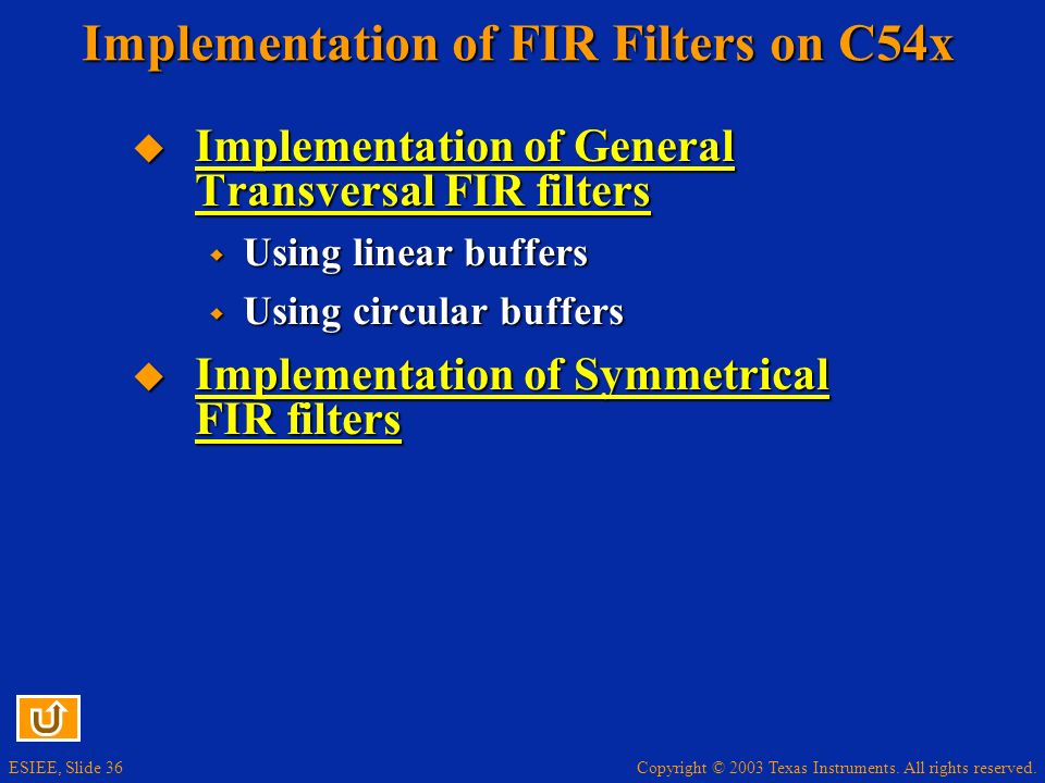 Implementation of FIR Filters on C54x