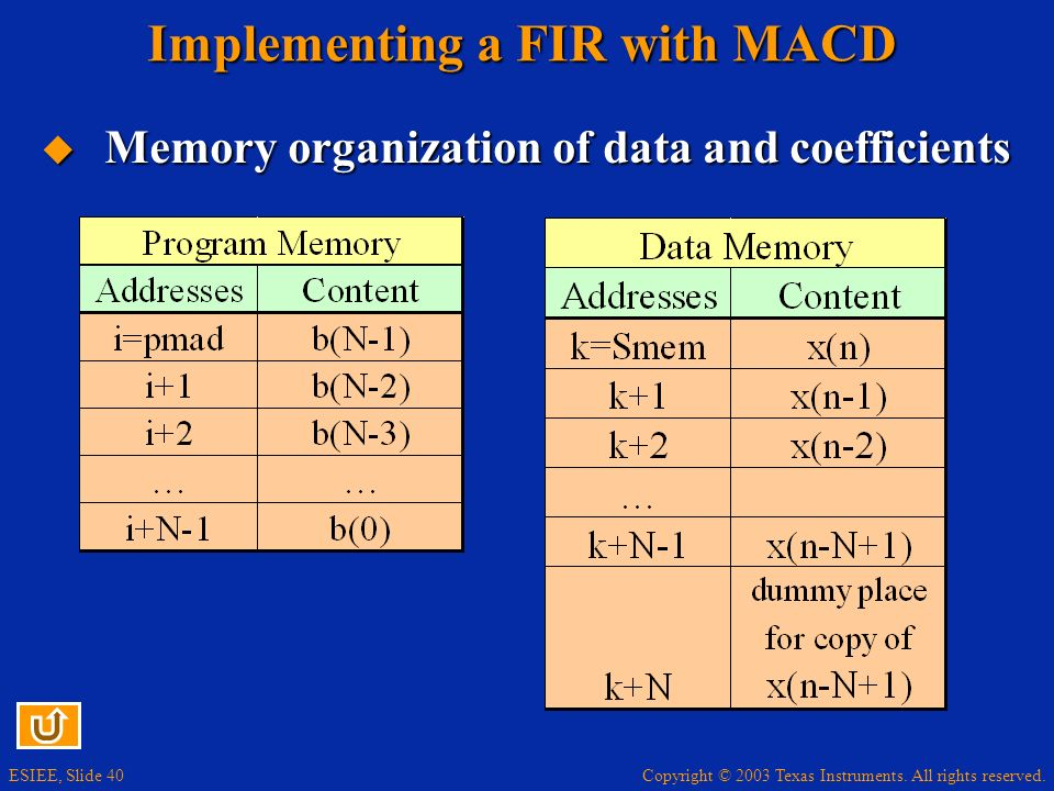 Implementing a FIR with MACD