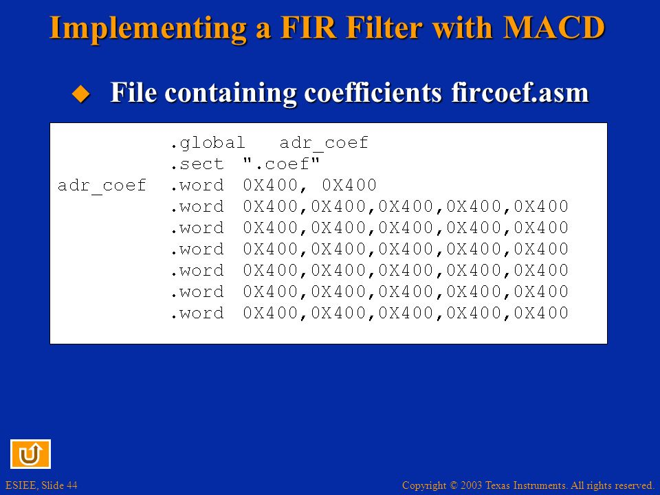 Implementing a FIR Filter with MACD