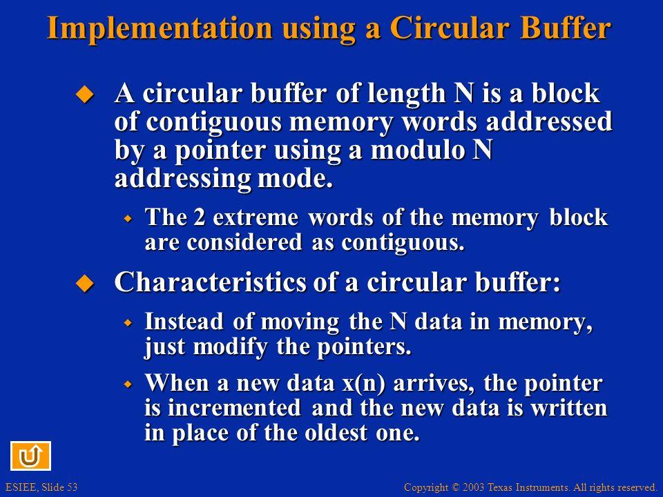 Implementation using a Circular Buffer
