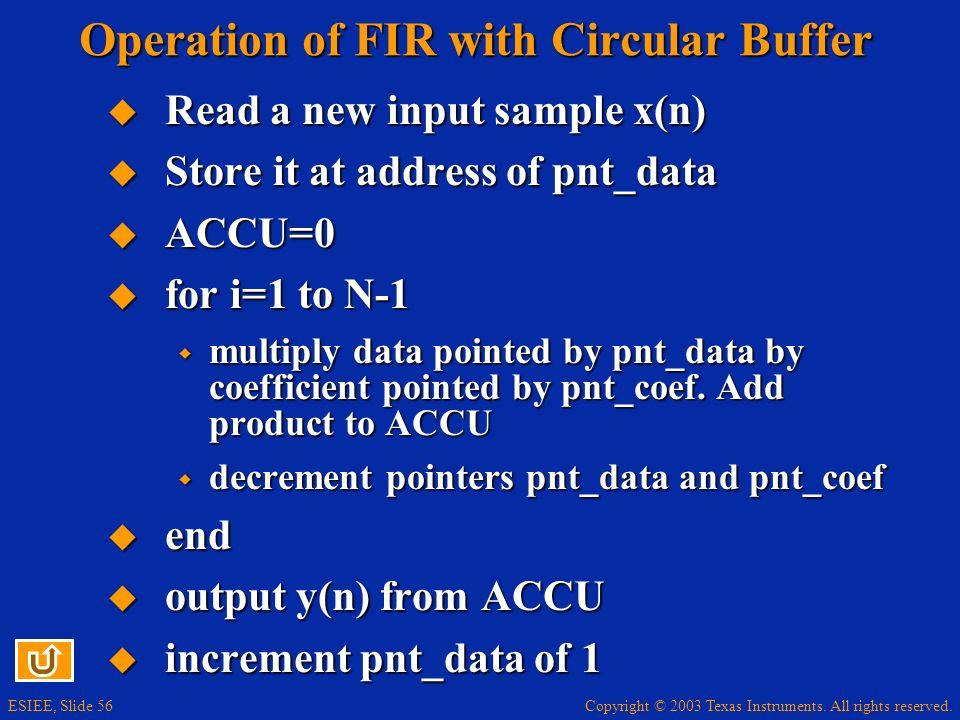 Operation of FIR with Circular Buffer