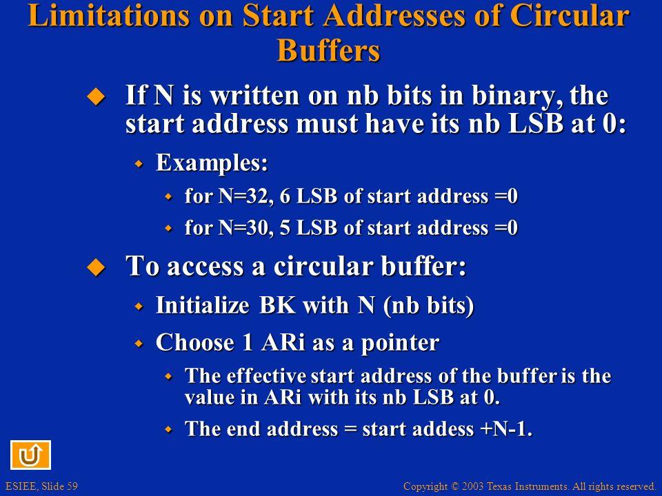 Limitations on Start Addresses of Circular Buffers