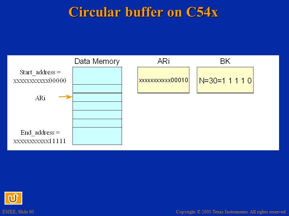 Circular buffer on C54x