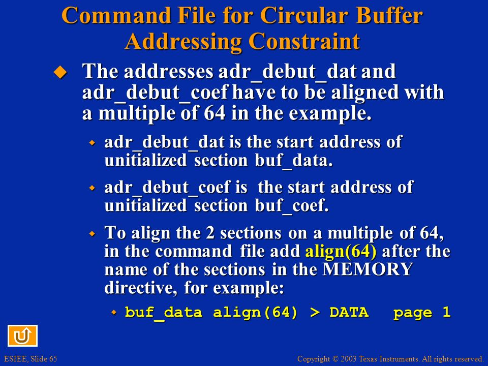 Command File for Circular Buffer Addressing Constraint
