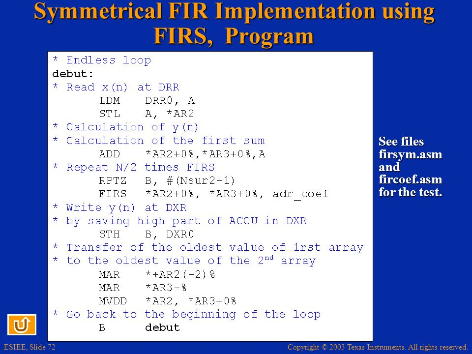 Symmetrical FIR Implementation using FIRS, Program