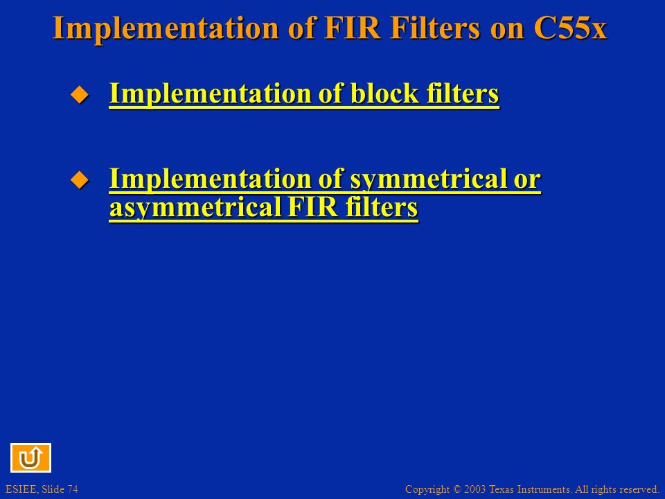 Implementation of FIR Filters on C55x