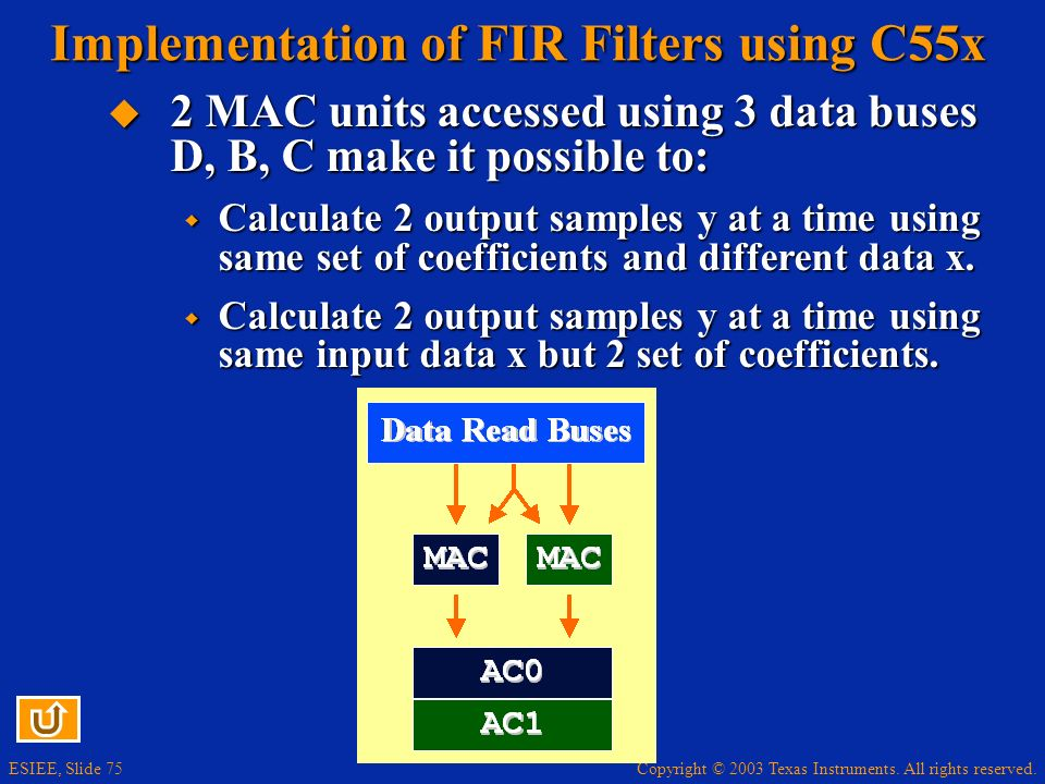 Implementation of FIR Filters using C55x