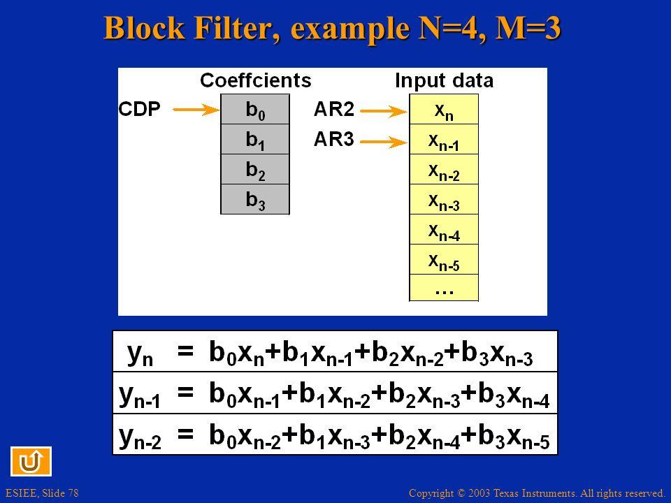 Block Filter, example N=4, M=3
