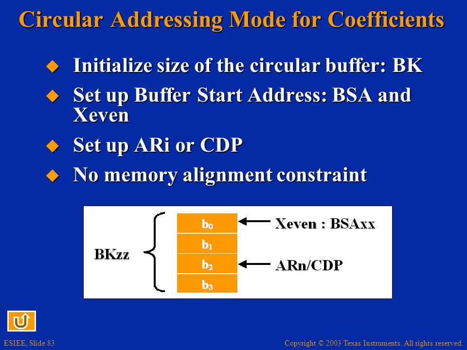 Circular Addressing Mode for Coefficients