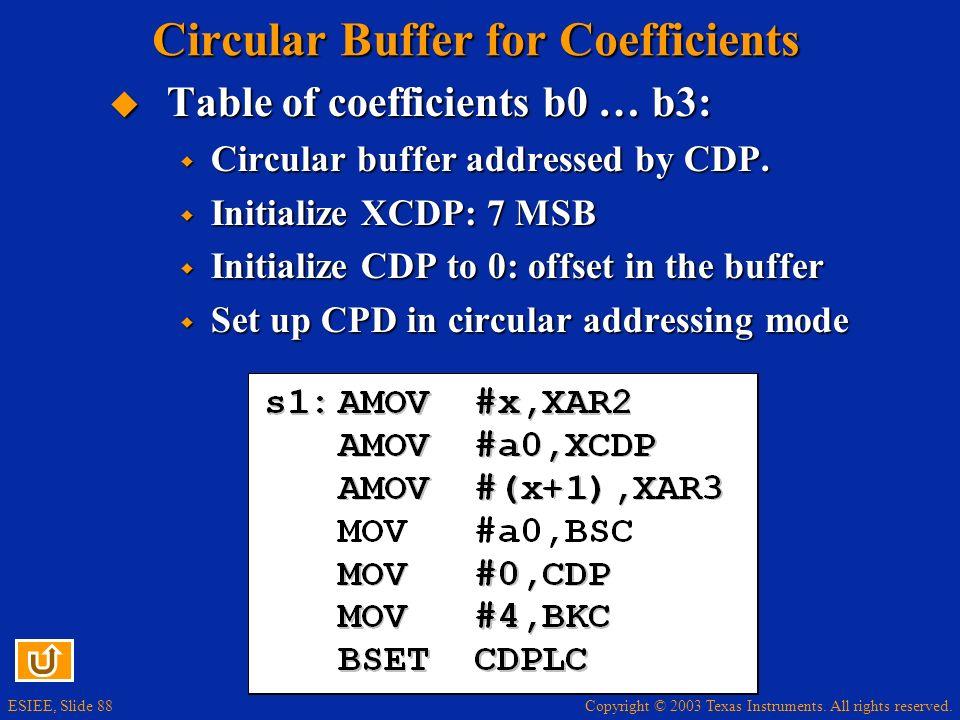 Circular Buffer for Coefficients