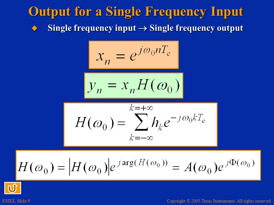 Output for a Single Frequency Input