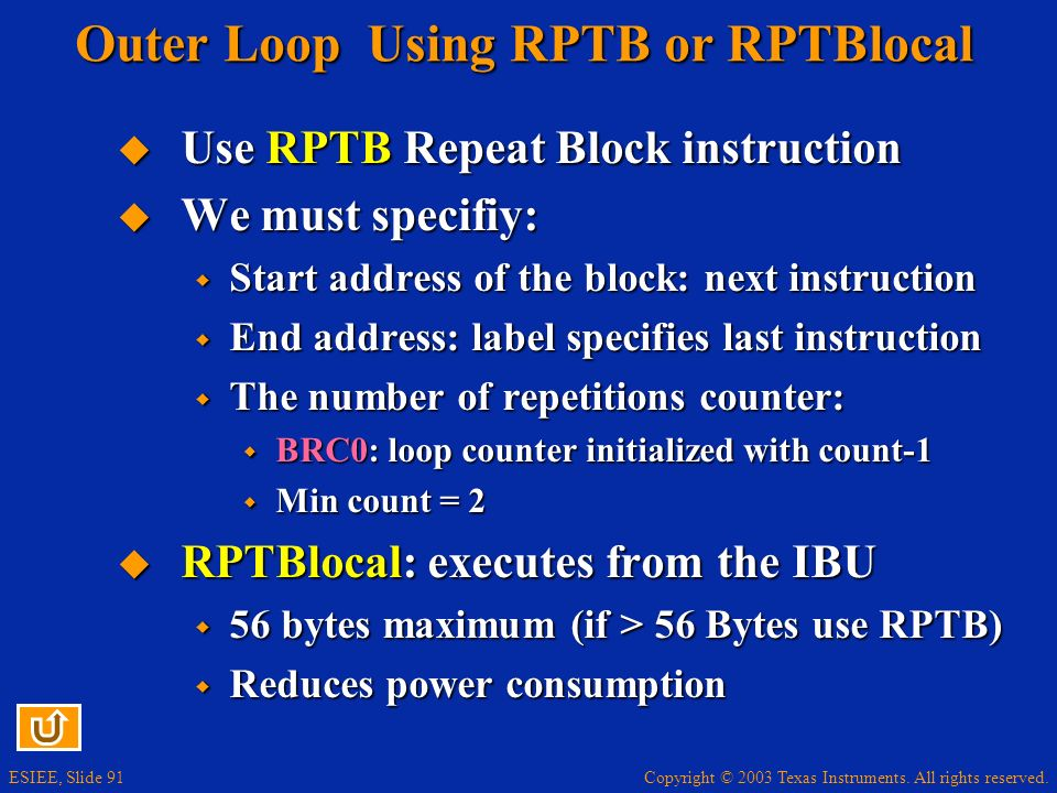 Outer Loop Using RPTB or RPTBlocal