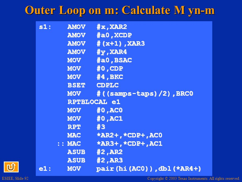 Outer Loop on m: Calculate M yn-m