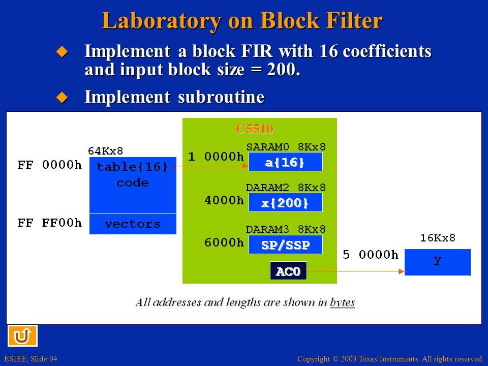Laboratory on Block Filter