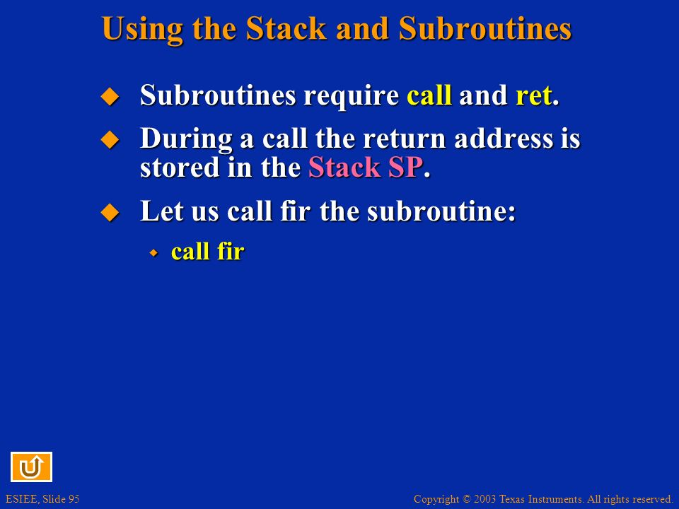 Using the Stack and Subroutines