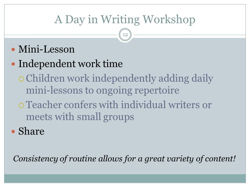 A Day in Writing Workshop