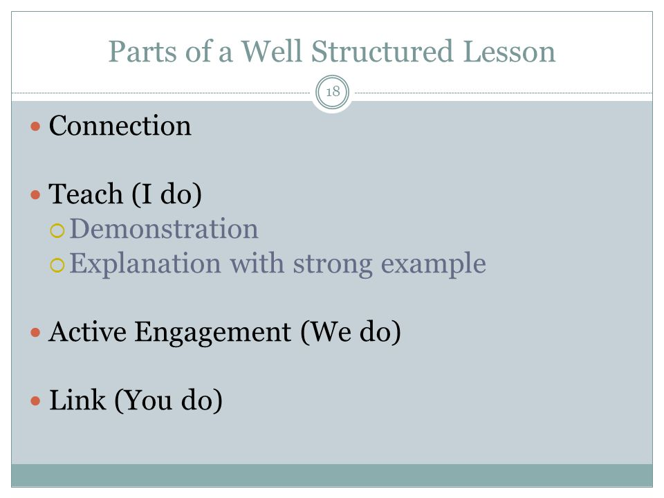 Parts of a Well Structured Lesson