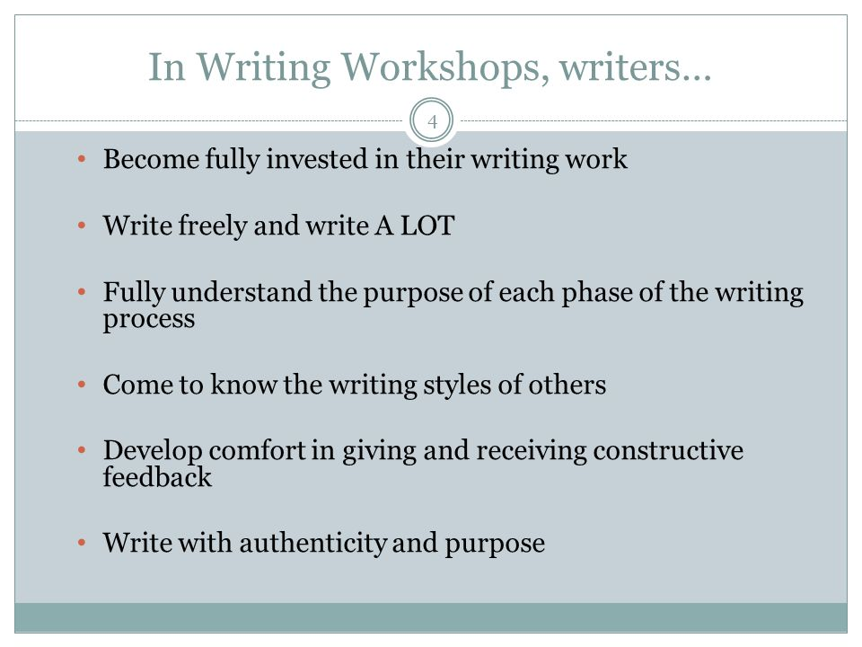 In Writing Workshops, writers…