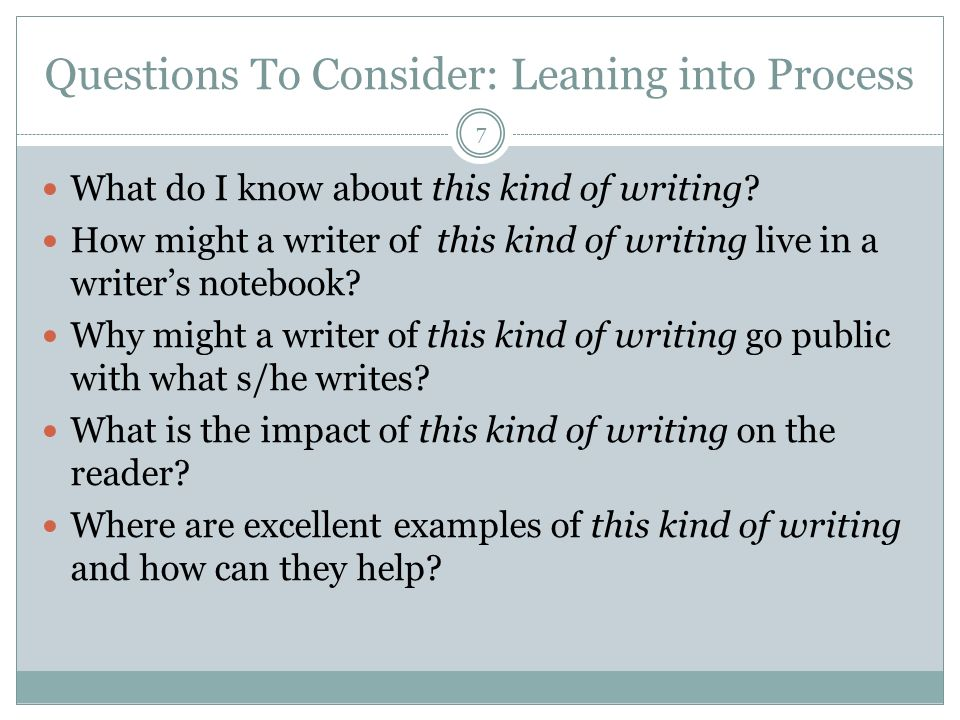 Questions To Consider: Leaning into Process