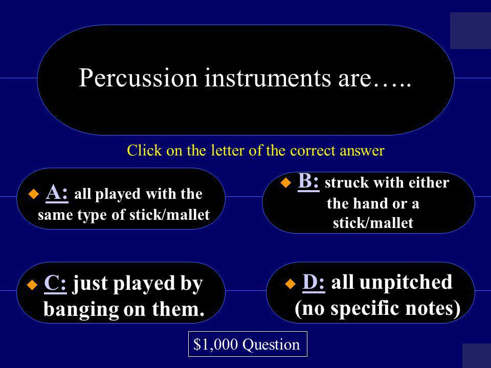 Percussion instruments are…..