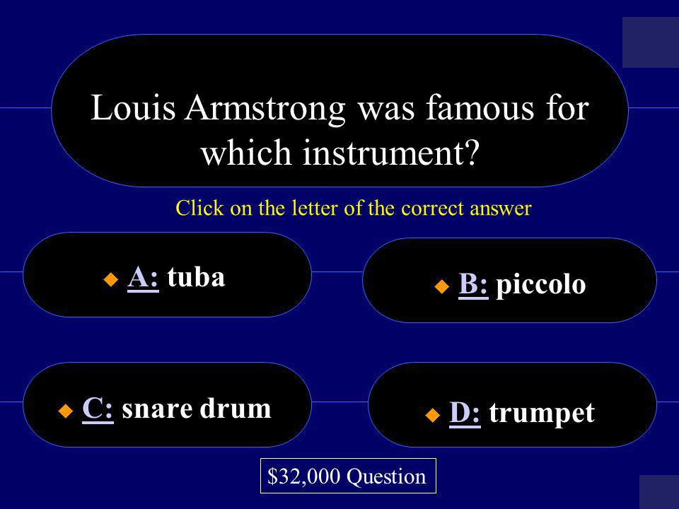 Louis Armstrong was famous for which instrument