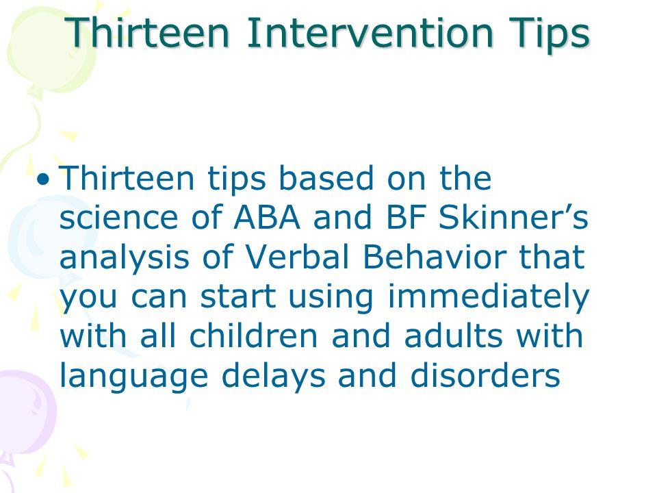 Thirteen Intervention Tips