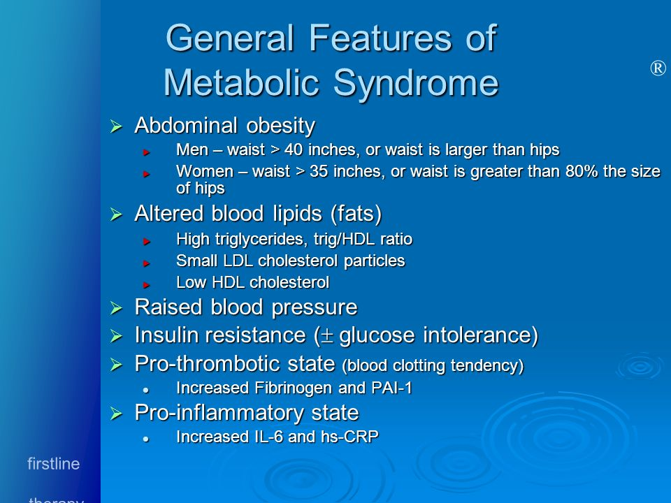 General Features of Metabolic Syndrome