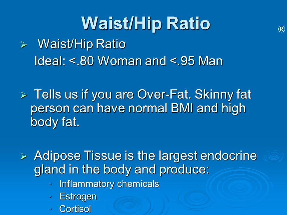 Waist/Hip Ratio Waist/Hip Ratio Ideal: <.80 Woman and <.95 Man