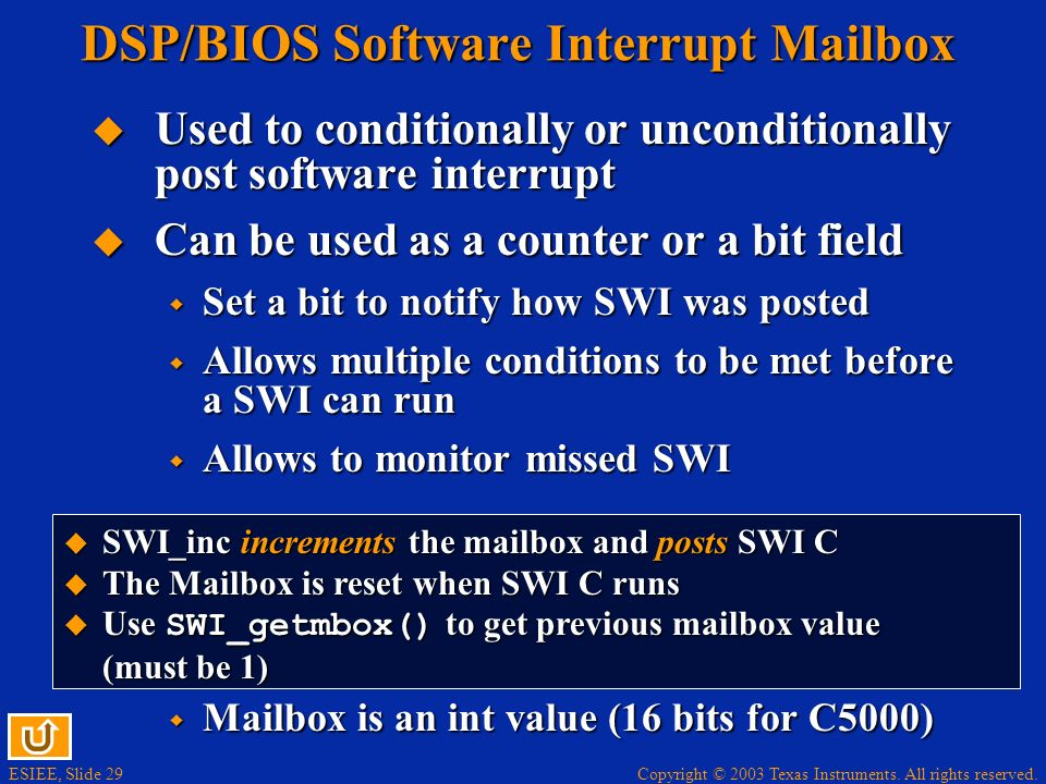 DSP/BIOS Software Interrupt Mailbox