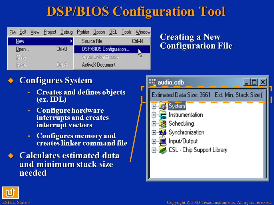 DSP/BIOS Configuration Tool