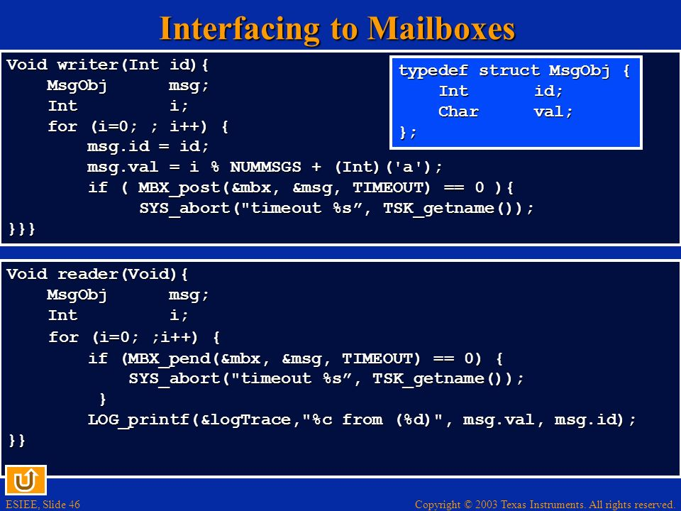 Interfacing to Mailboxes
