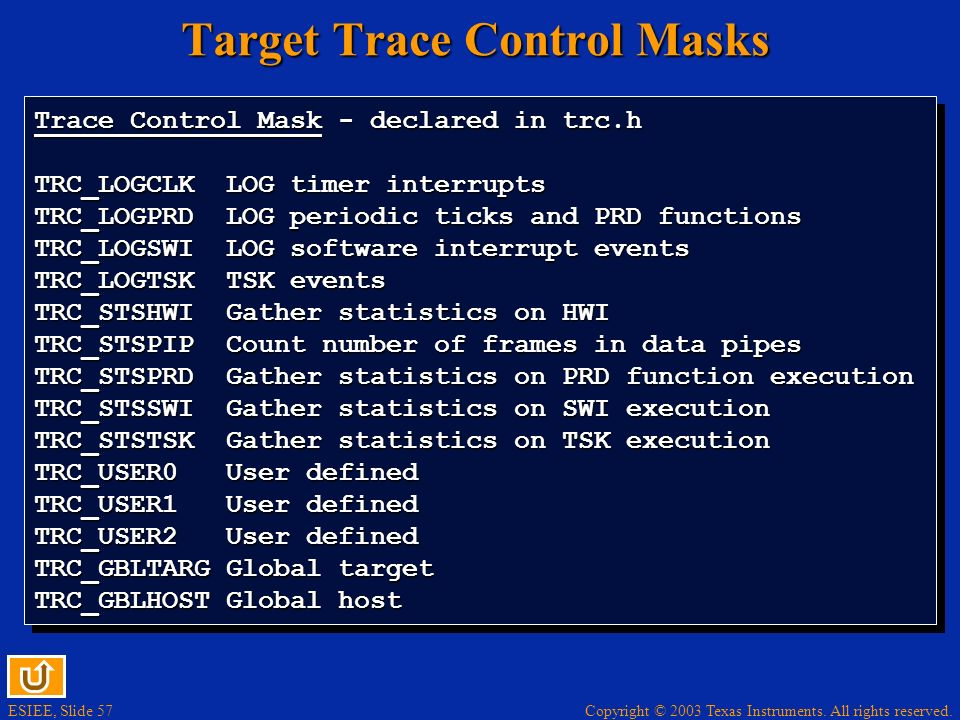 Target Trace Control Masks