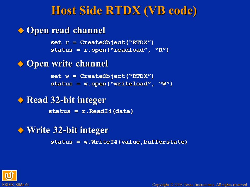 Host Side RTDX (VB code)