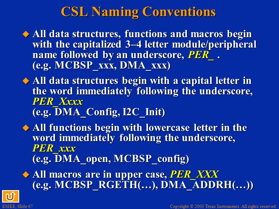 CSL Naming Conventions