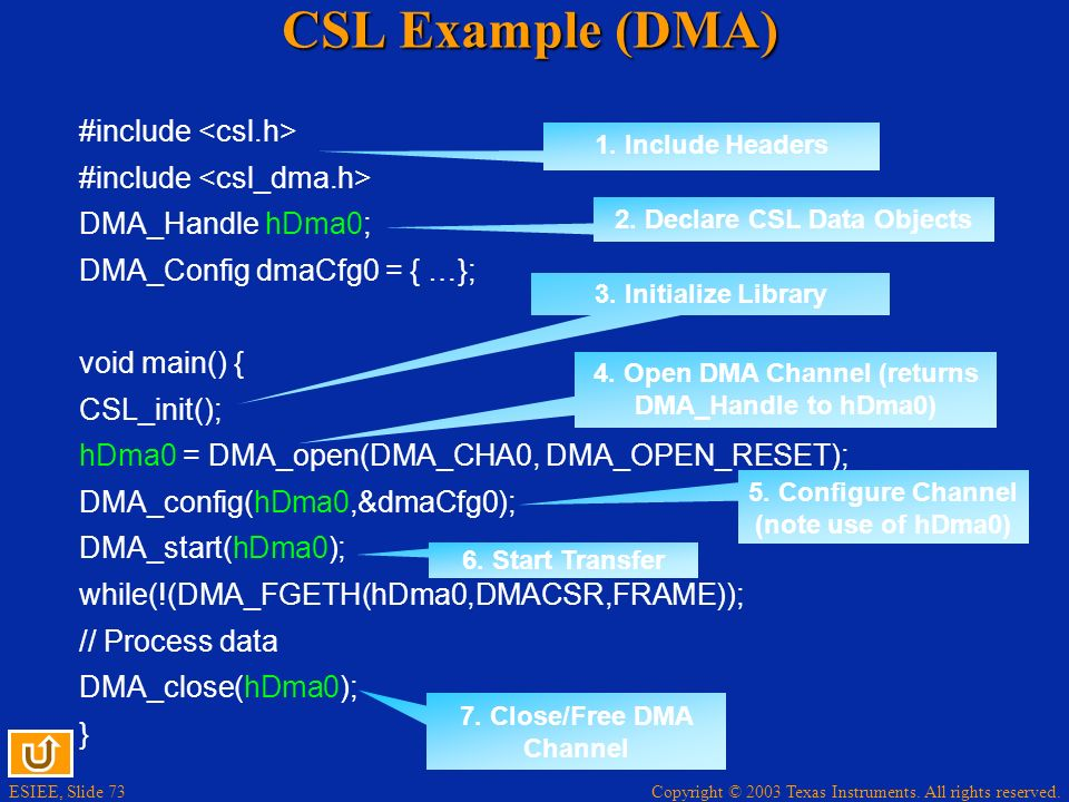 CSL Example (DMA) #include <csl.h> #include <csl_dma.h>