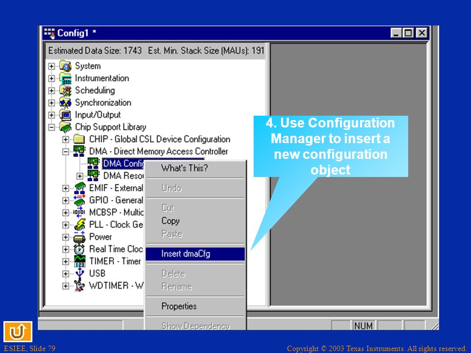 4. Use Configuration Manager to insert a new configuration object