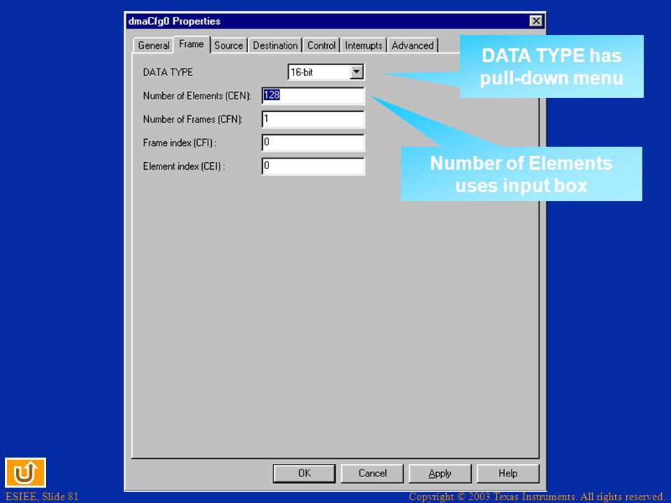 DATA TYPE has pull-down menu Number of Elements uses input box