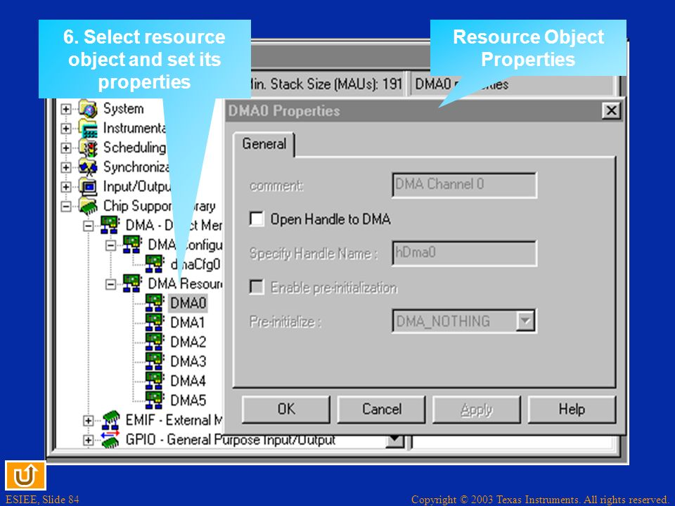 6. Select resource object and set its properties